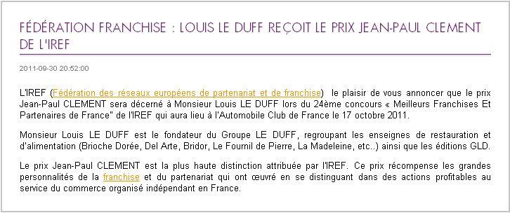 Fédération franchise  Louis LE DUFF reçoit le prix Jean-Paul CLEMENT de l'IREF _2011-10-04_10-49-20